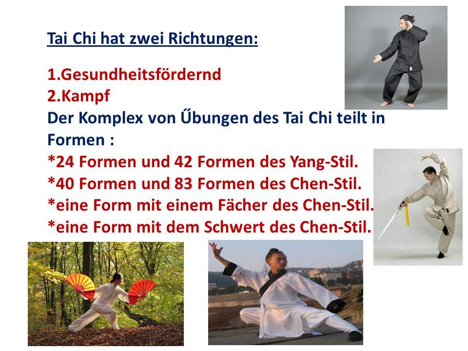 Tai Chi hat zwei Richtungen:
