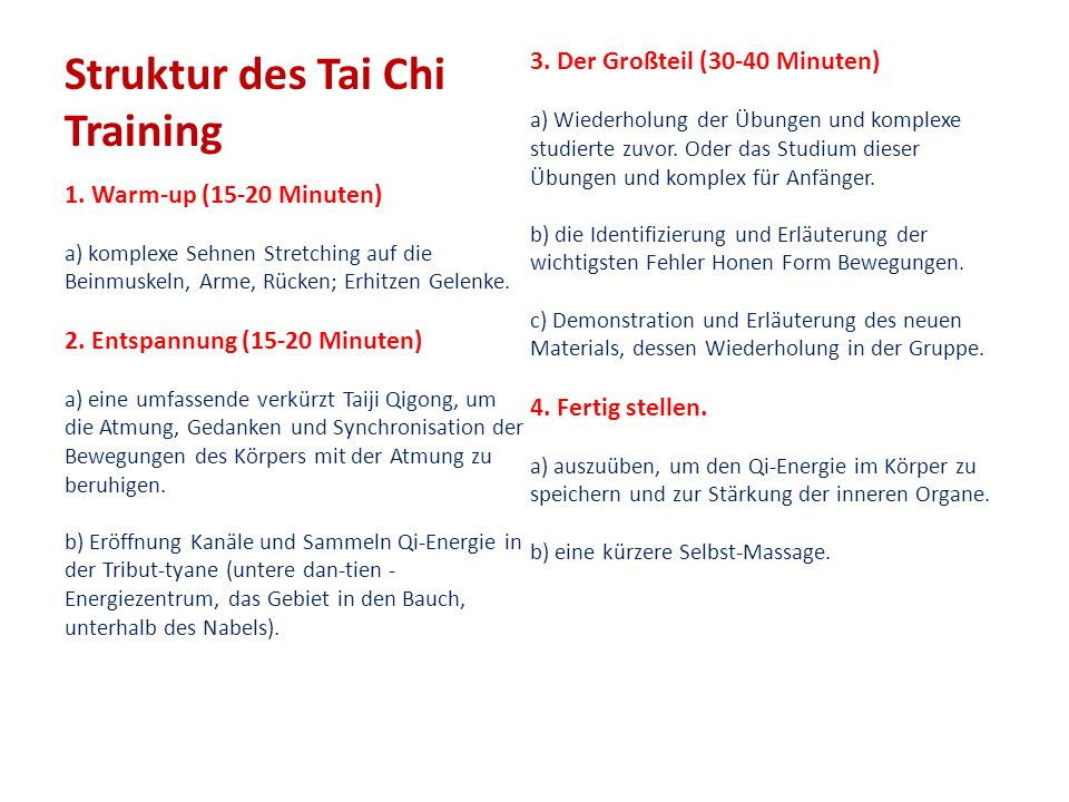 Struktur des Tai Chi Training