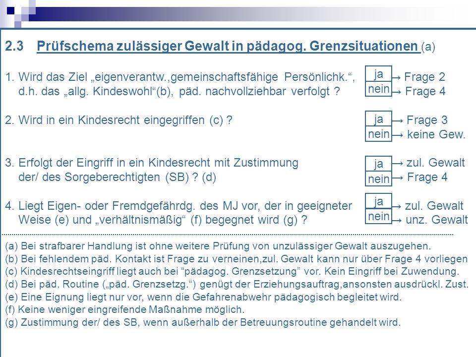 2.3 Prüfschema zulässiger Gewalt in pädagog. Grenzsituationen (a)