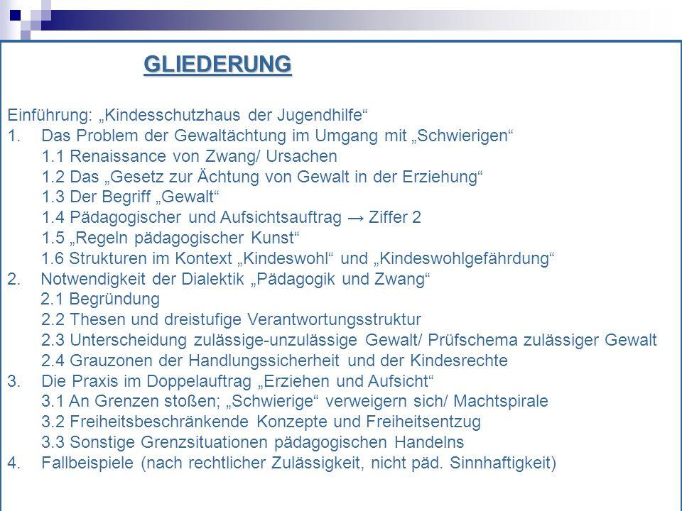 """GLIEDERUNG Einführung: """"Kindesschutzhaus der Jugendhilfe 1. Das Problem der Gewaltächtung im Umgang mit """"Schwierigen"""