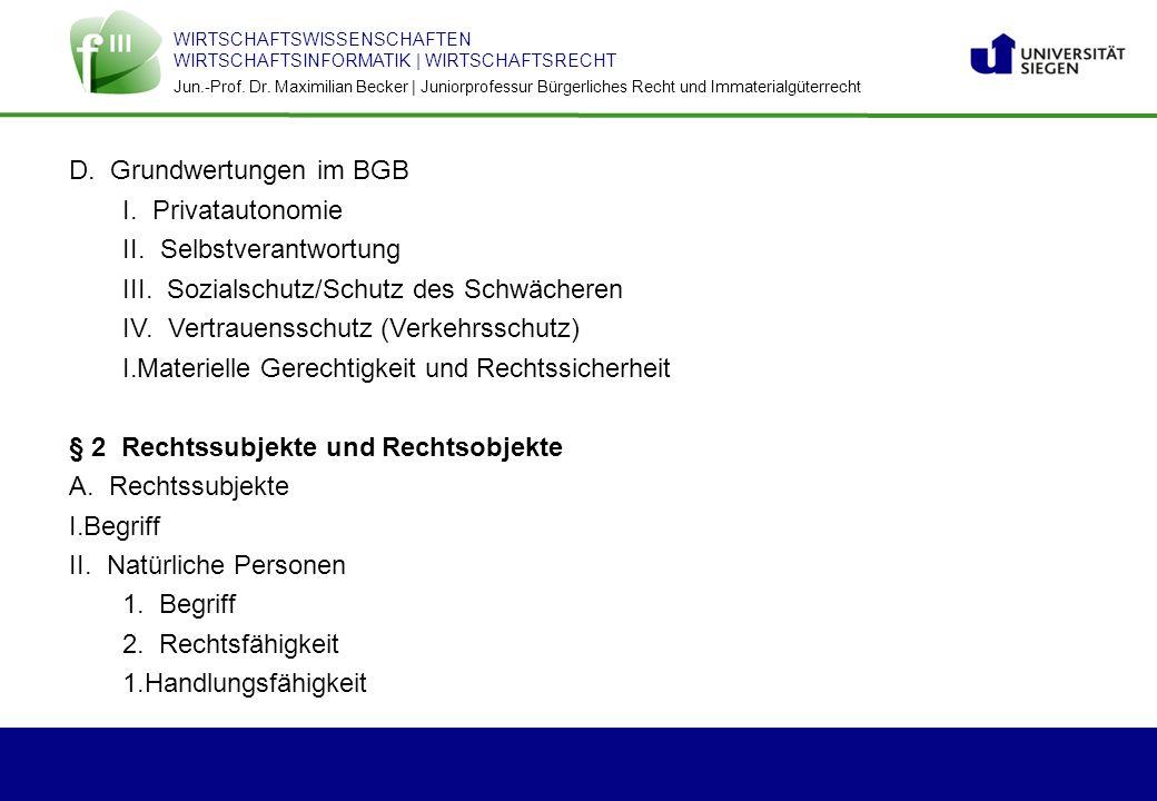 D. Grundwertungen im BGB
