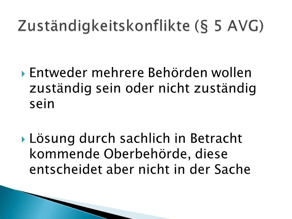 Zuständigkeitskonflikte (§ 5 AVG)
