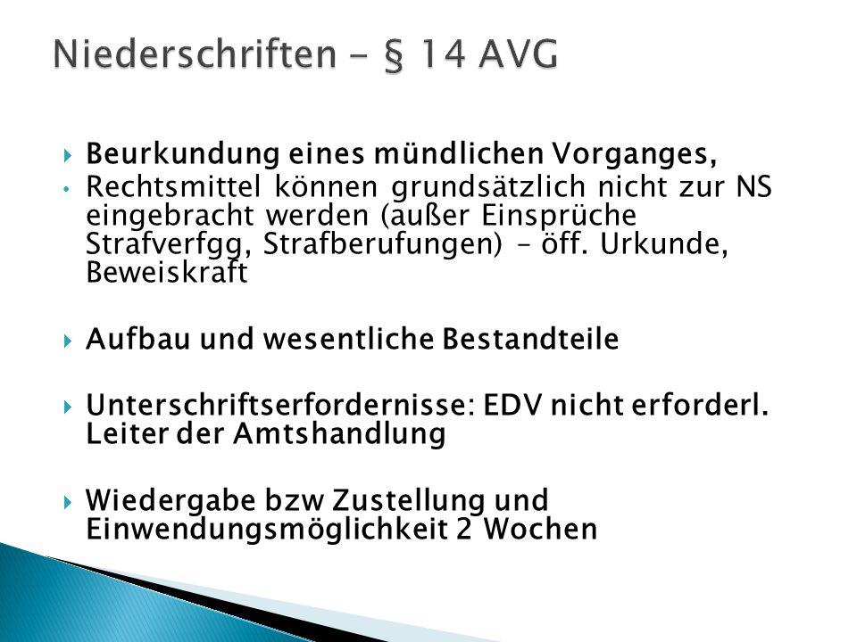 Niederschriften - § 14 AVG