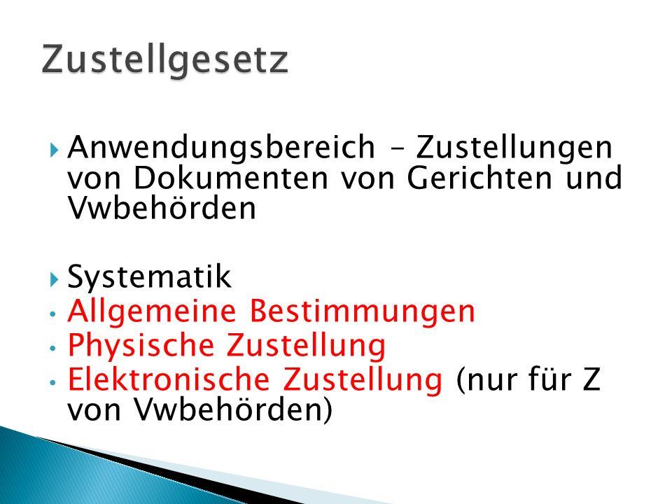 Zustellgesetz Anwendungsbereich – Zustellungen von Dokumenten von Gerichten und Vwbehörden. Systematik.