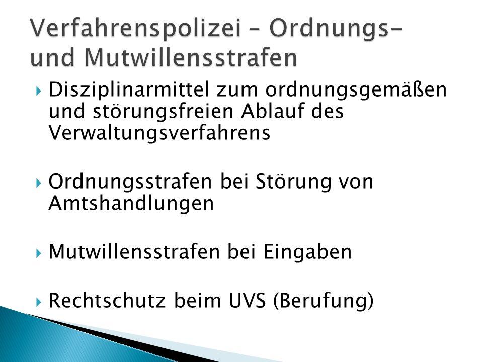 Verfahrenspolizei – Ordnungs- und Mutwillensstrafen