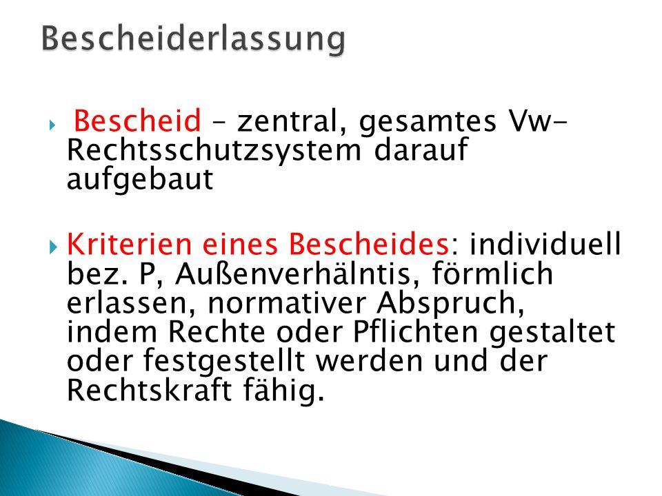 Bescheiderlassung Bescheid – zentral, gesamtes Vw- Rechtsschutzsystem darauf aufgebaut.