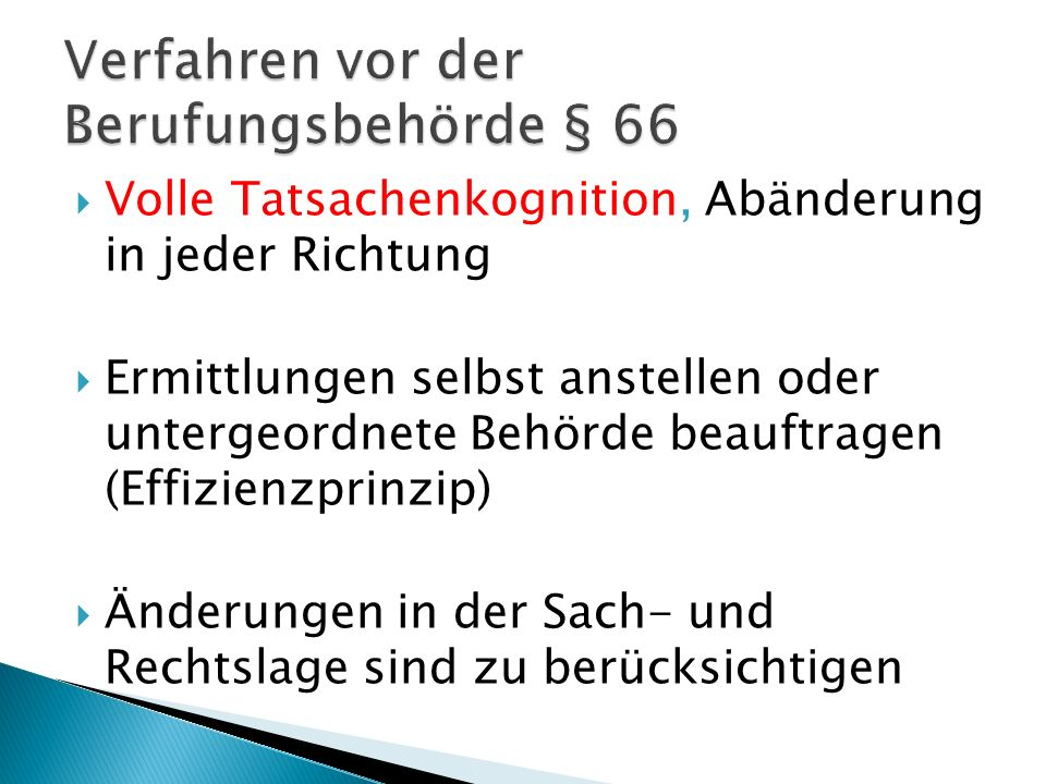 Verfahren vor der Berufungsbehörde § 66
