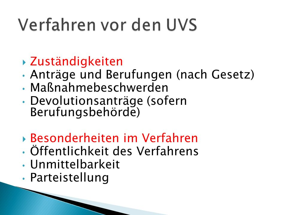 Verfahren vor den UVS Zuständigkeiten
