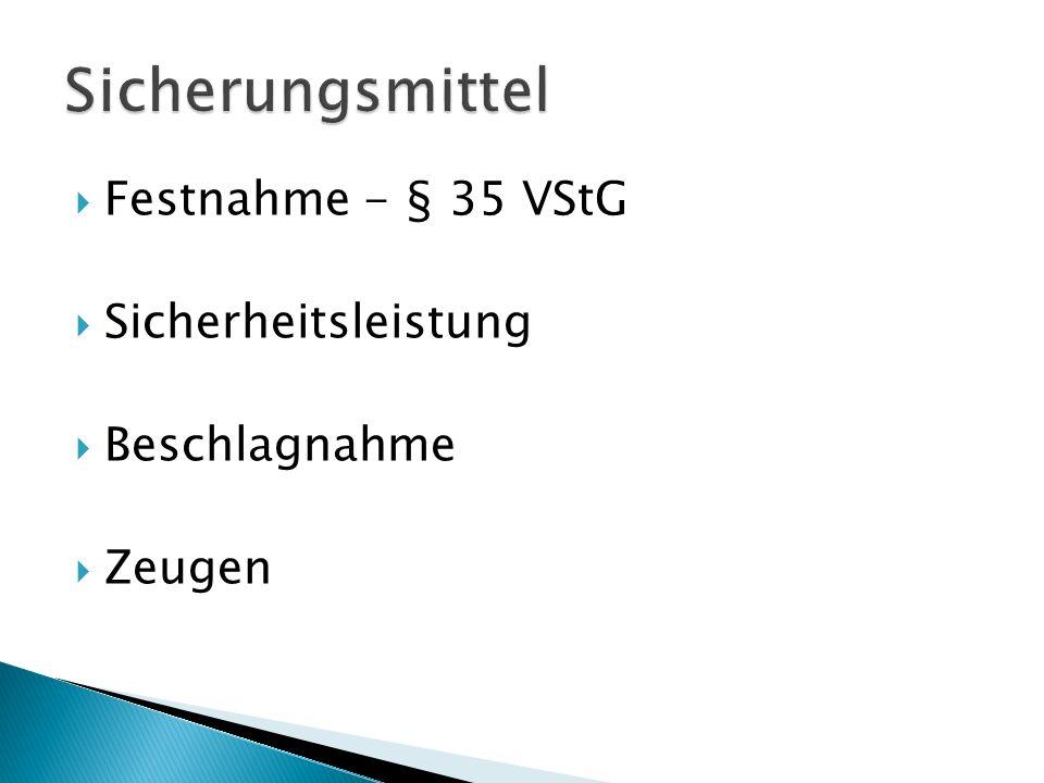 Sicherungsmittel Festnahme - § 35 VStG Sicherheitsleistung