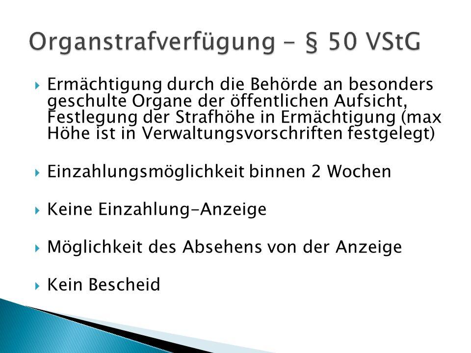 Organstrafverfügung - § 50 VStG