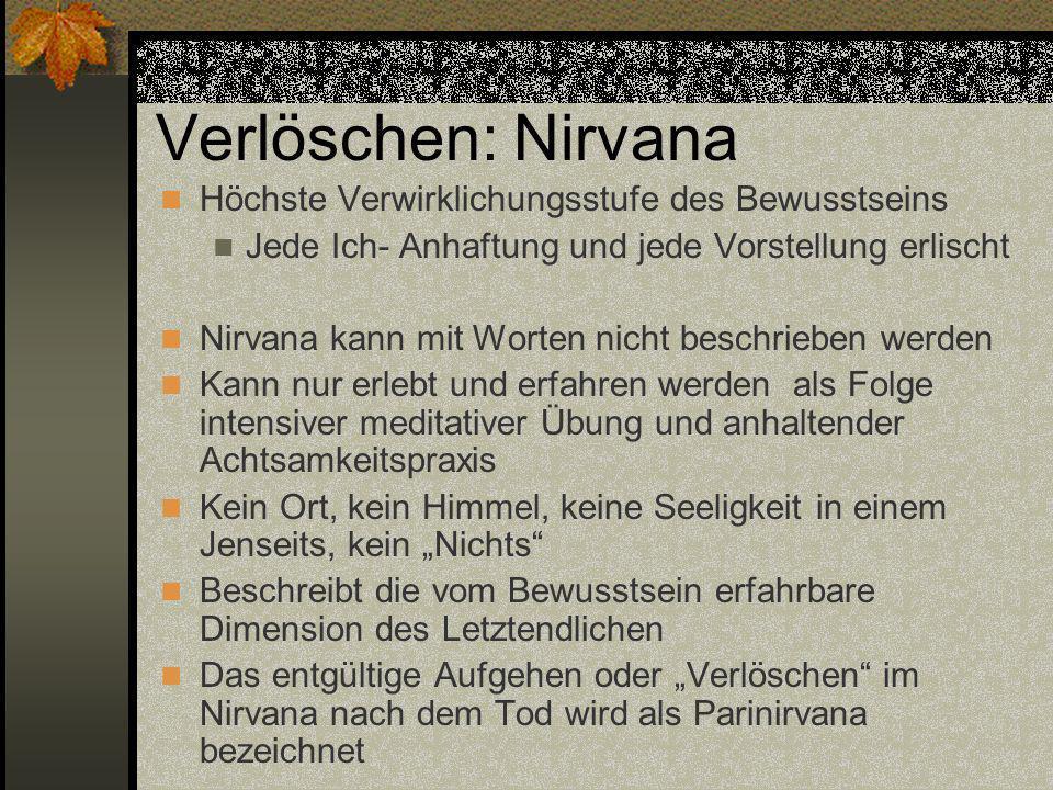 Verlöschen: Nirvana Höchste Verwirklichungsstufe des Bewusstseins