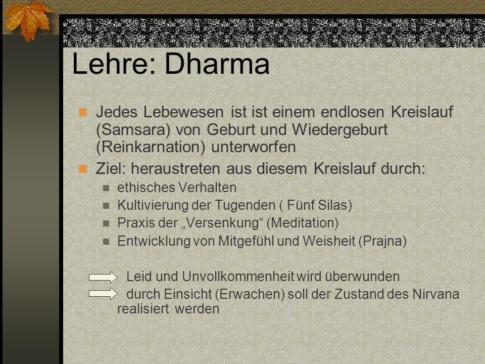 Lehre: Dharma Jedes Lebewesen ist ist einem endlosen Kreislauf (Samsara) von Geburt und Wiedergeburt (Reinkarnation) unterworfen.