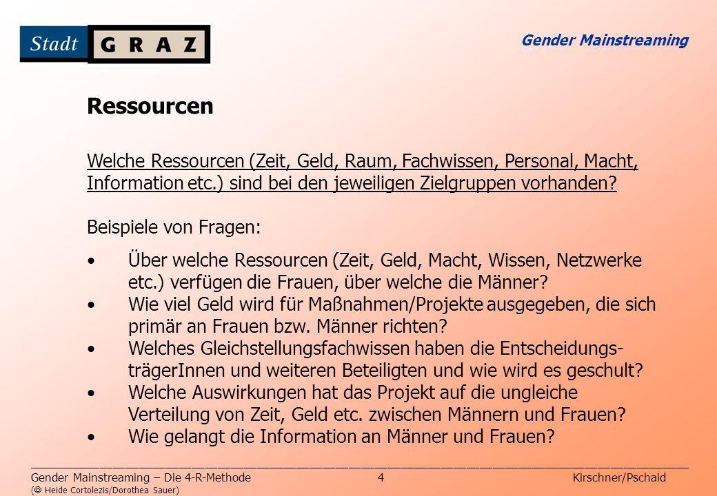 Gender Mainstreaming Ressourcen. Welche Ressourcen (Zeit, Geld, Raum, Fachwissen, Personal, Macht,