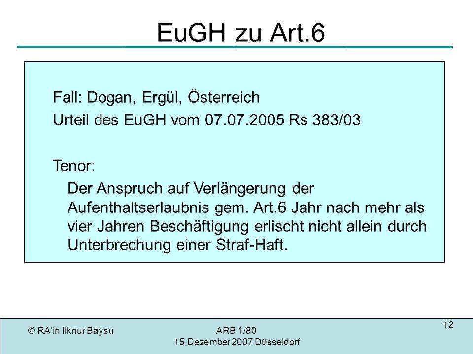 EuGH zu Art.6 Fall: Dogan, Ergül, Österreich