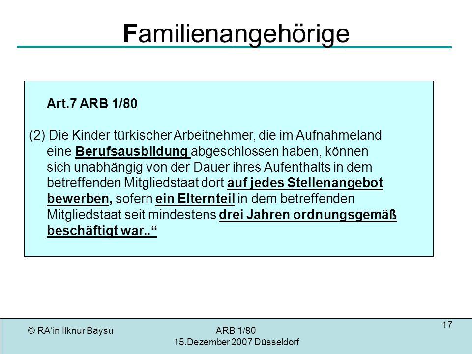 Familienangehörige Art.7 ARB 1/80