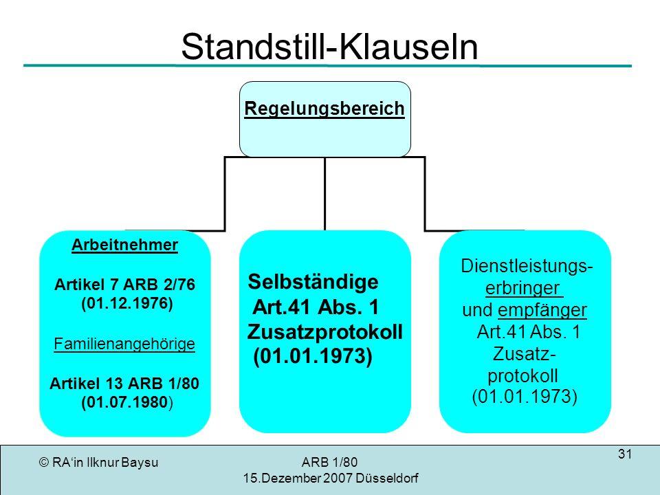Standstill-Klauseln Selbständige Art.41 Abs. 1 Zusatzprotokoll