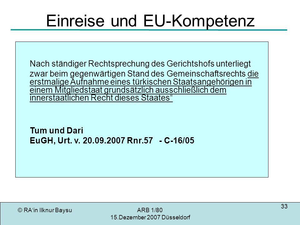 Einreise und EU-Kompetenz