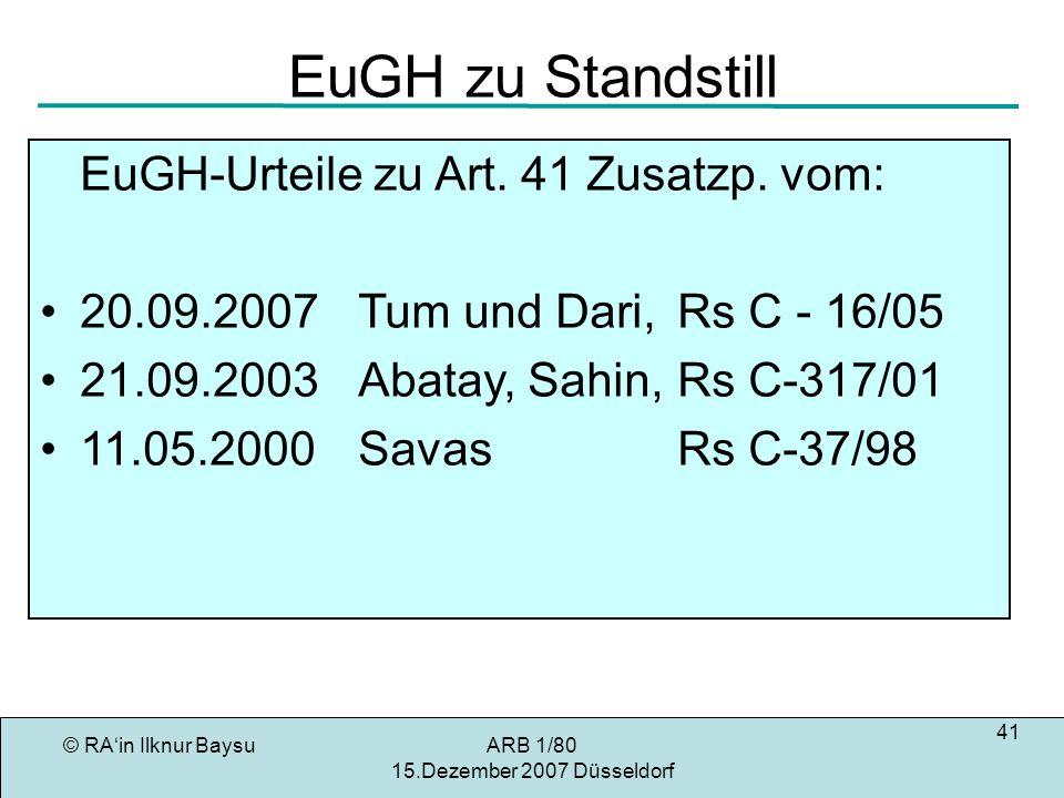 EuGH zu Standstill EuGH-Urteile zu Art. 41 Zusatzp. vom: