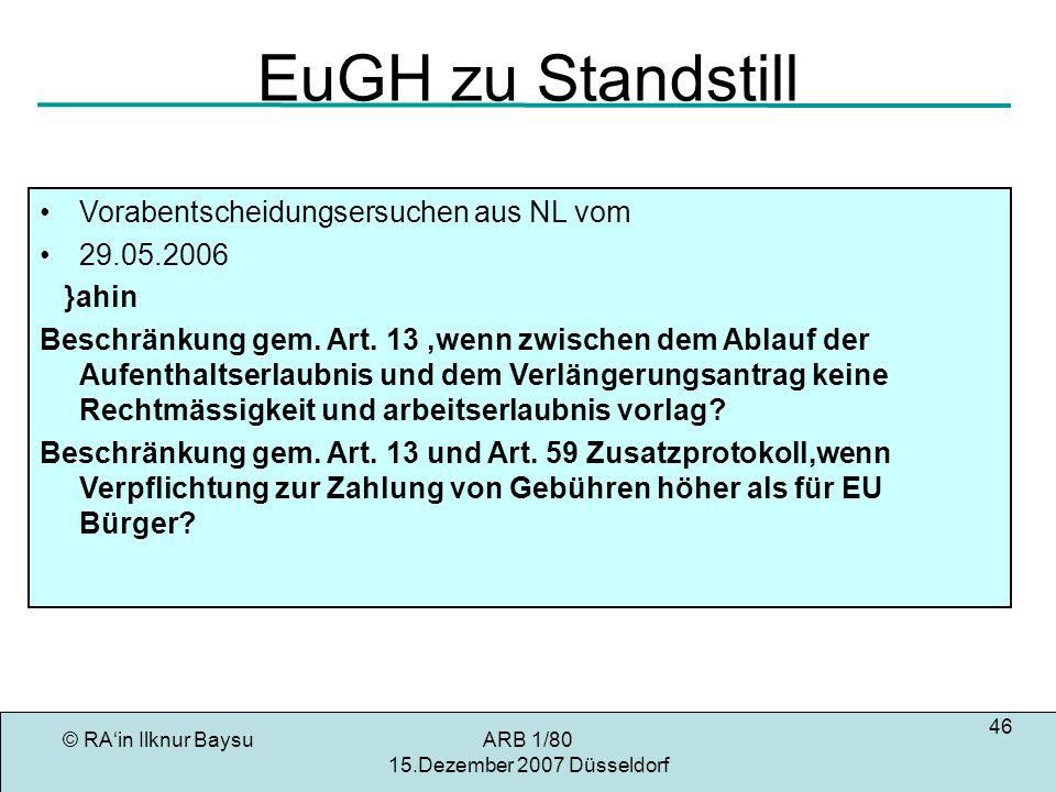 EuGH zu Standstill Vorabentscheidungsersuchen aus NL vom 29.05.2006