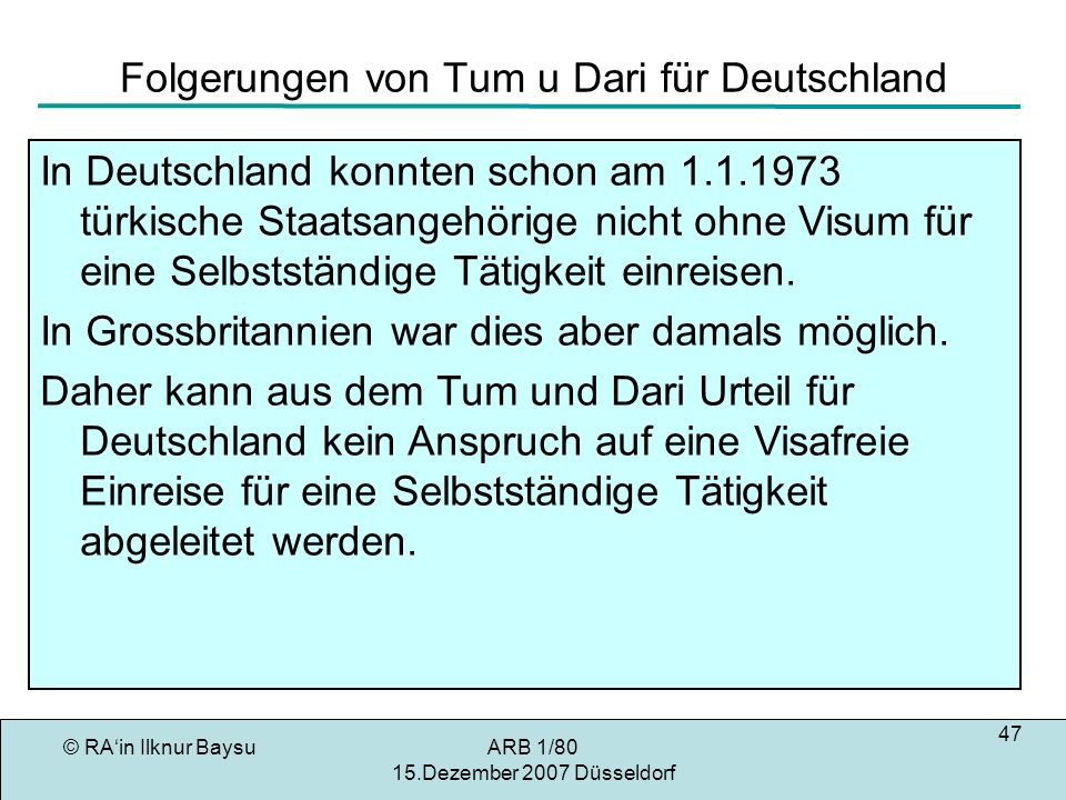 Folgerungen von Tum u Dari für Deutschland
