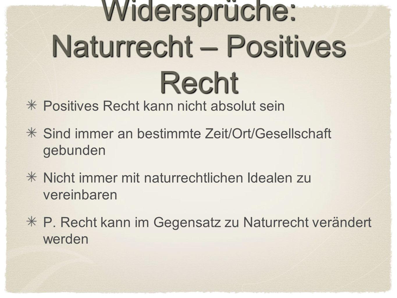Widersprüche: Naturrecht – Positives Recht