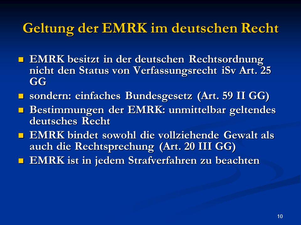 Geltung der EMRK im deutschen Recht
