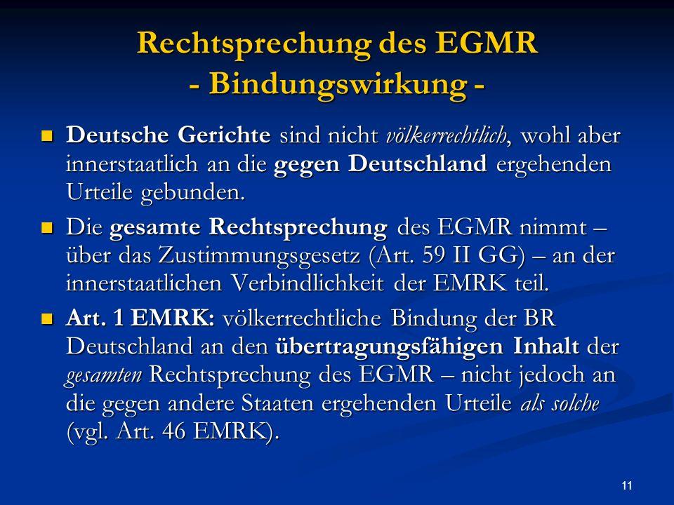 Rechtsprechung des EGMR - Bindungswirkung -