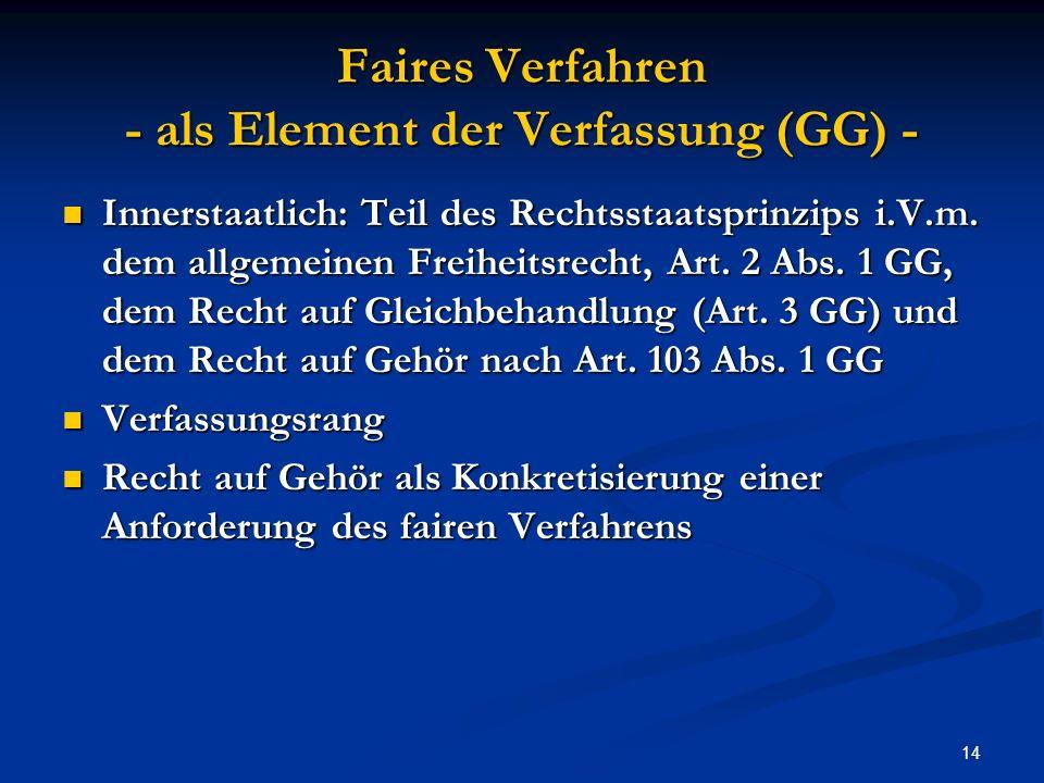Faires Verfahren - als Element der Verfassung (GG) -