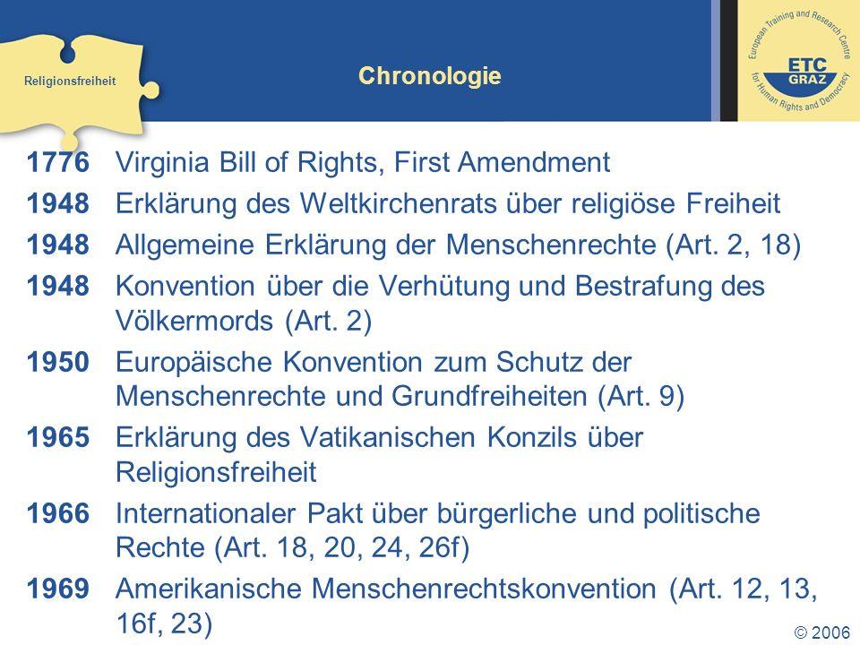 1776 Virginia Bill of Rights, First Amendment