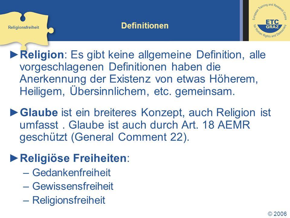 Religiöse Freiheiten: