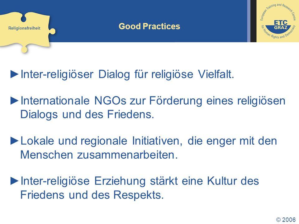 Inter-religiöser Dialog für religiöse Vielfalt.