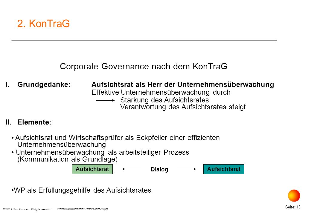 Corporate Governance nach dem KonTraG