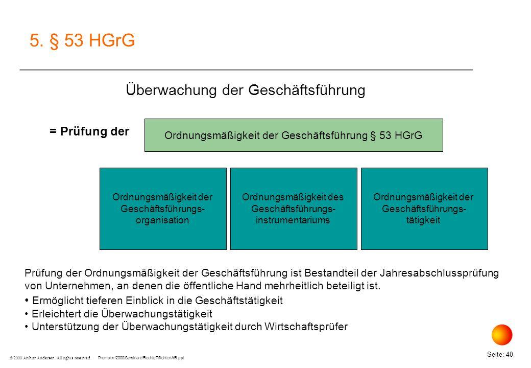 5. § 53 HGrG Überwachung der Geschäftsführung = Prüfung der