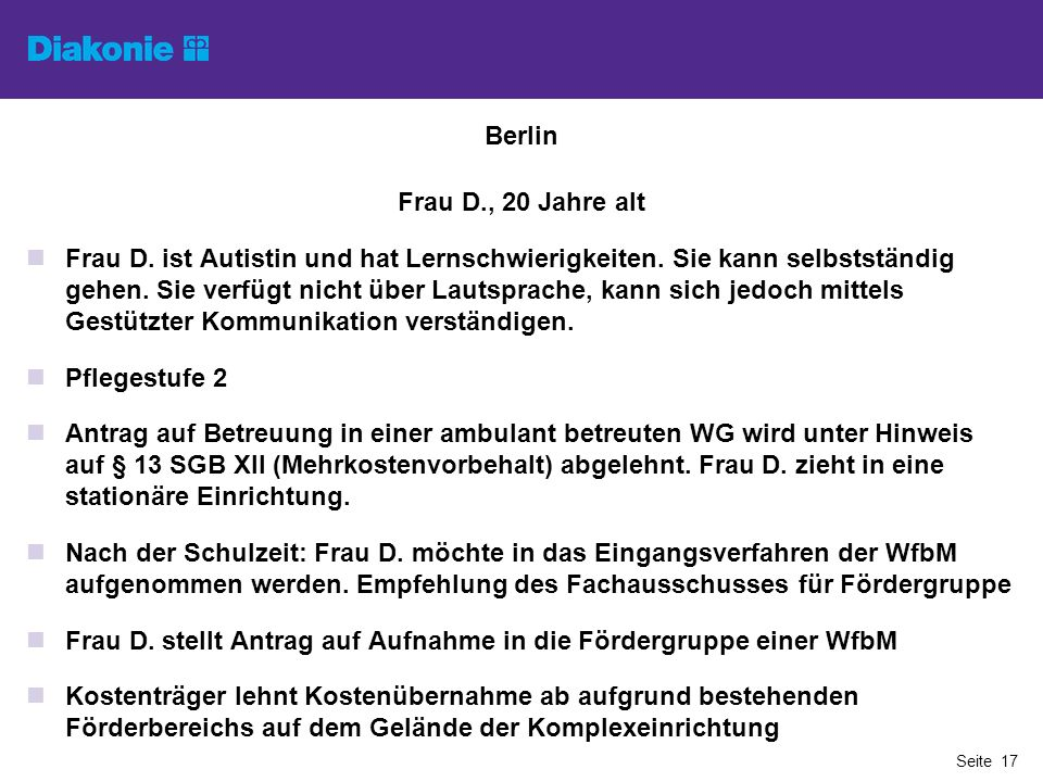 Berlin Frau D., 20 Jahre alt.