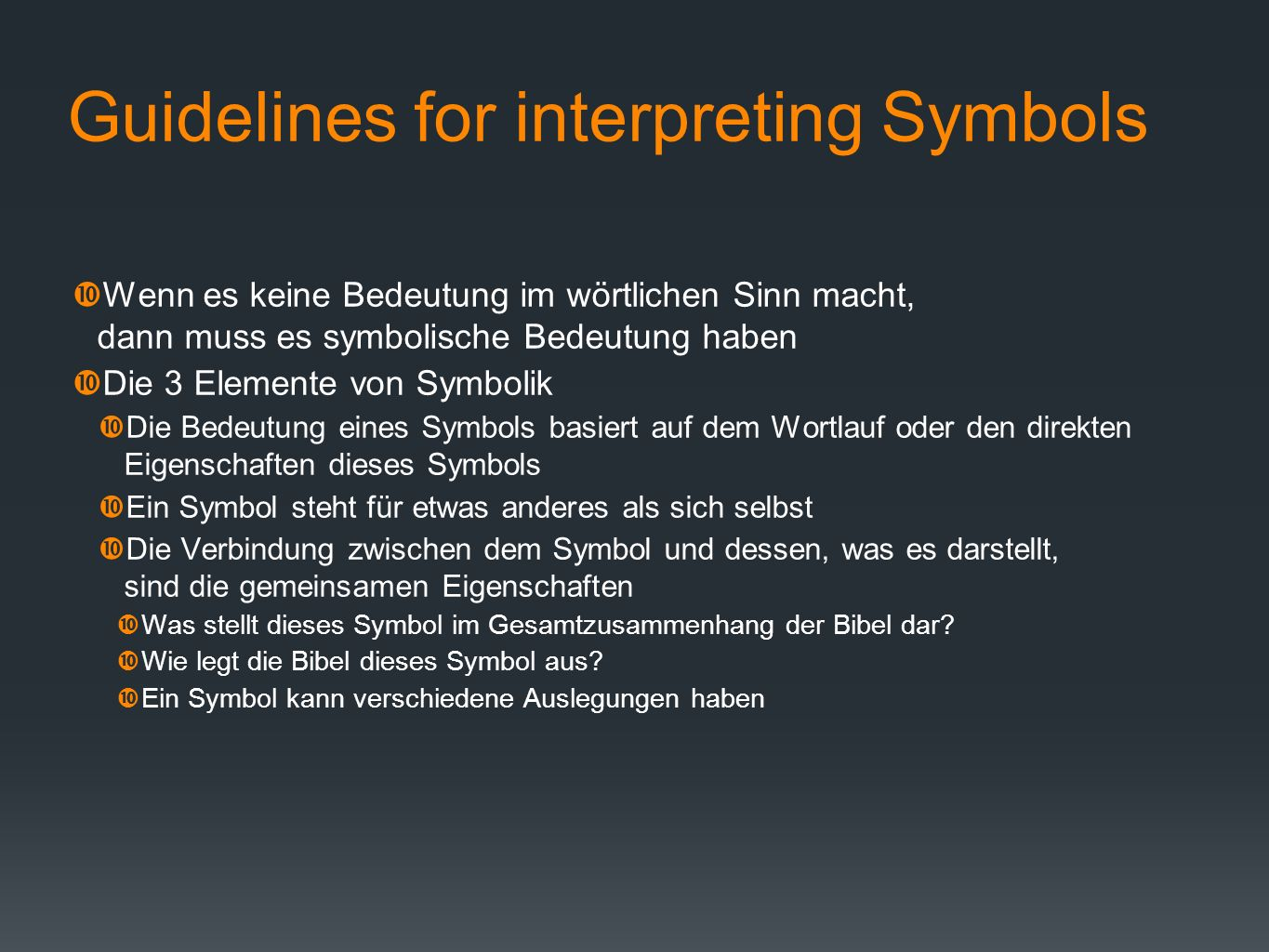 Guidelines for interpreting Symbols