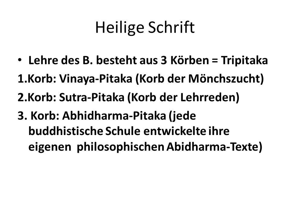 Heilige Schrift Lehre des B. besteht aus 3 Körben = Tripitaka