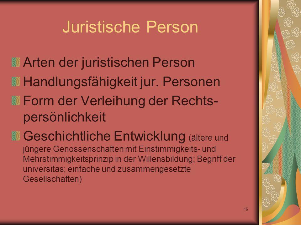 Juristische Person Arten der juristischen Person