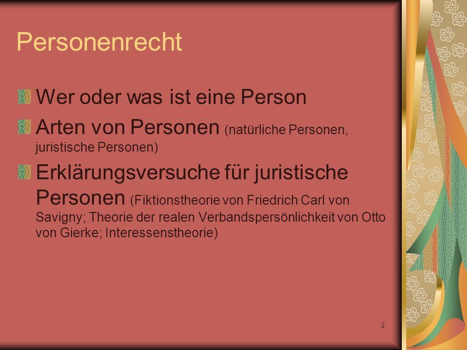Personenrecht Wer oder was ist eine Person