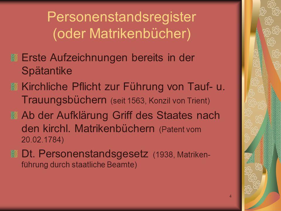 Personenstandsregister (oder Matrikenbücher)