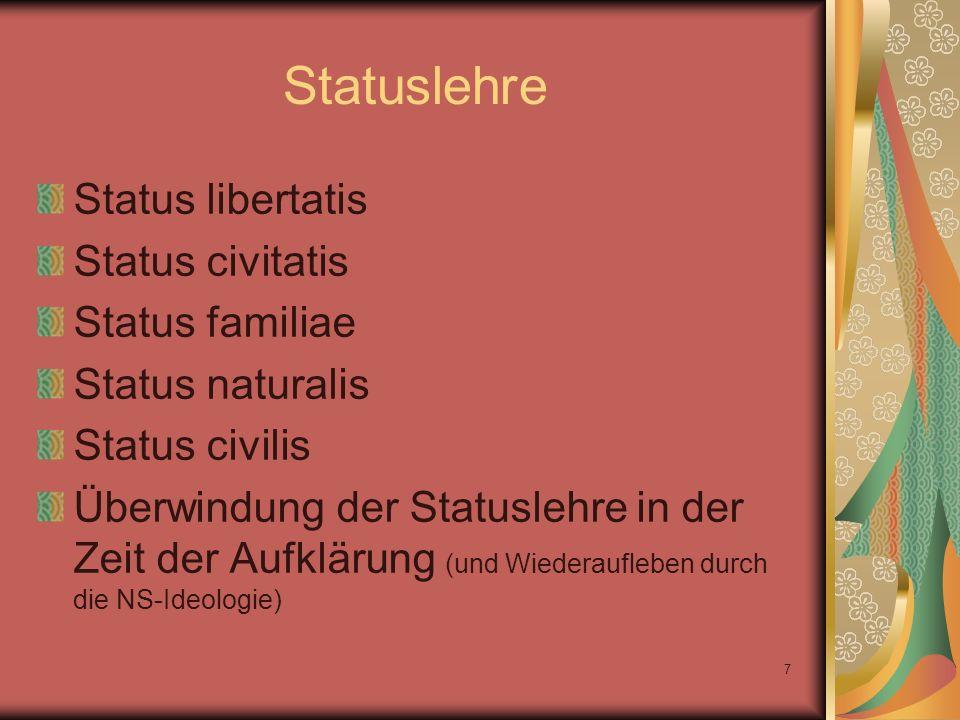 Statuslehre Status libertatis Status civitatis Status familiae