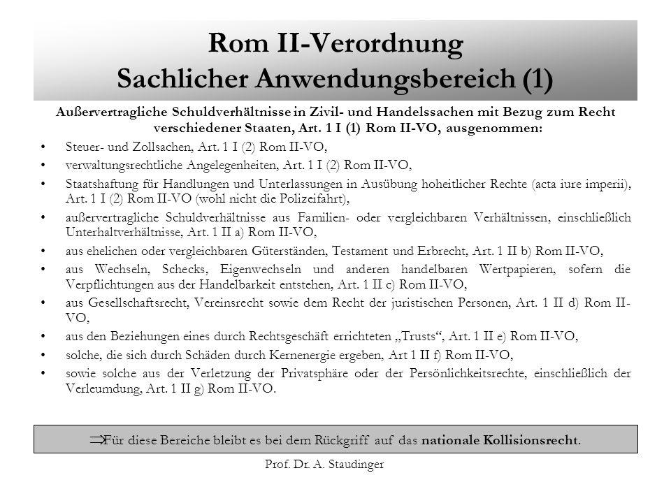 Rom II-Verordnung Sachlicher Anwendungsbereich (1)