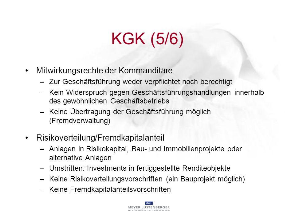 KGK (5/6) Mitwirkungsrechte der Kommanditäre