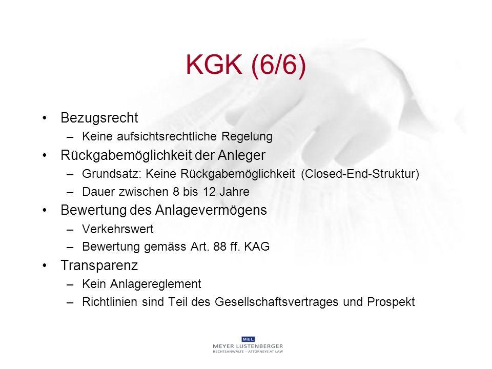 KGK (6/6) Bezugsrecht Rückgabemöglichkeit der Anleger