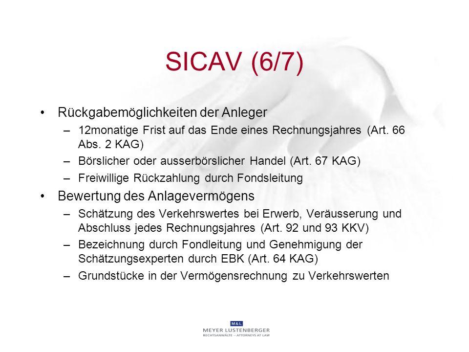 SICAV (6/7) Rückgabemöglichkeiten der Anleger