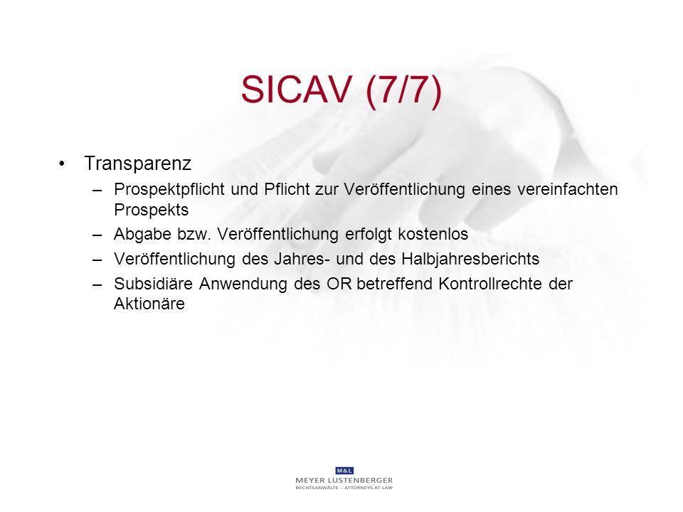 SICAV (7/7) Transparenz. Prospektpflicht und Pflicht zur Veröffentlichung eines vereinfachten Prospekts.