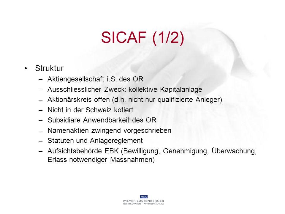 SICAF (1/2) Struktur Aktiengesellschaft i.S. des OR