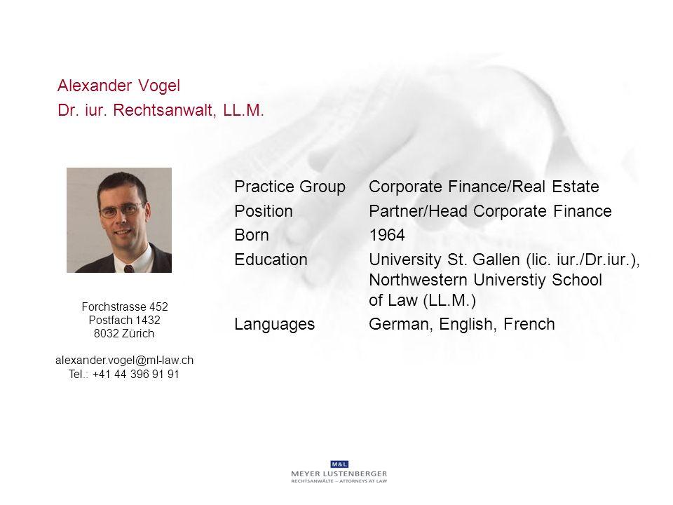 Alexander Vogel Dr. iur. Rechtsanwalt, LL.M.