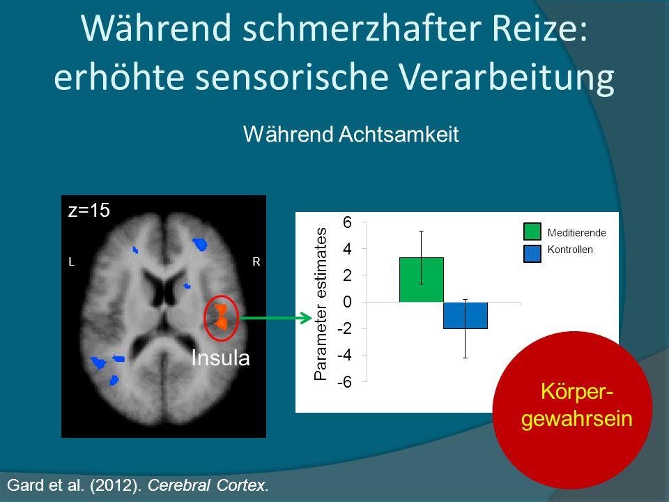 Während schmerzhafter Reize: erhöhte sensorische Verarbeitung