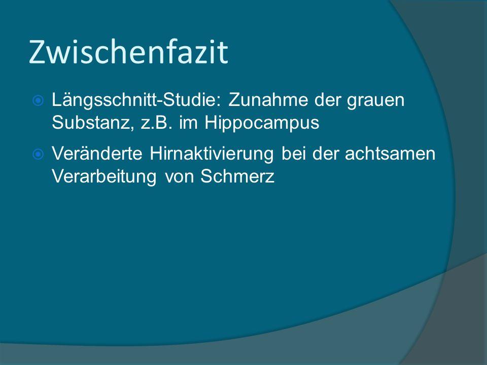 Zwischenfazit Längsschnitt-Studie: Zunahme der grauen Substanz, z.B. im Hippocampus.