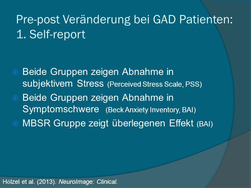 Pre-post Veränderung bei GAD Patienten: 1. Self-report